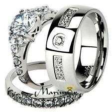 His & Her 3pc Round Cz Stainless Steel Bridal Set & Men Zirconia Wedding Band