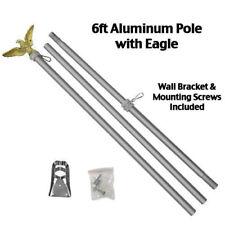 6 Ft FLAG POLE w Gold Eagle Top Wall Mount Bracket - Silver Aluminum