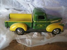 "John Deere Diecast Green and Yellow truck toy- 4.25"" long-hood/ doors opens"