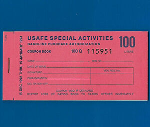 USAFE  Gasoline coupons 1992 100 liter full book AIR FORCE scrip 19 coupons UNC.