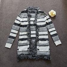 Womens MINKPINK Black & White Knit Duster Cardigan Sweater Coat Size XS 8-10