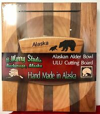 Alaskan Made ULU in PURE ALDER Bowl / Cutting Board with Etched BEAR in Handle