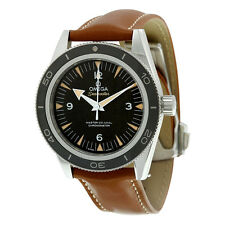 Omega Seamaster 300 Automatic Black Dial Brown Leather Mens Watch