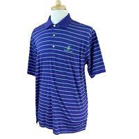 Peter Millar Men's Short Sleeve Mauna Lani Purple Stripe Golf Polo Shirt Large