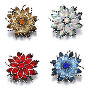 5PCS Flower Crystal Chunk Charm Snap Button Fit 18mm Drill Snap Jewelry DIY
