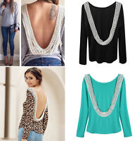 Infant Lady Women Sexy Backless Lace Shirt Girl Long Sleeve Tops Blouse Clothes