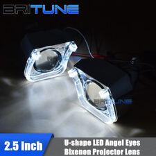 U Shape LED Angel Devil Eyes 2.5'' Mini Bi-xenon Projector Lens H4 H7 Headlight