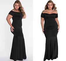Ladies Black Plus Size Off Shoulder Fishtail Maxi Dress Prom Gown Evening 18 20
