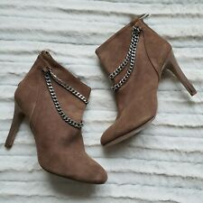 Dolce Vita Kendal Suede Leather Ankle Boots Sz 8 Tan Brown Chain Stiletto Heels