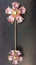 Vintage CHRISTIAN DIOR Flower Brooch Pin Pin Purple Crystals Gold-tone metal EUC