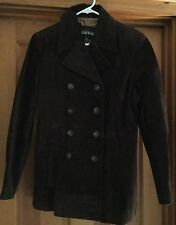 KENNETH COLE REACTION WOMENS DARK BROWN SUEDE PEACOAT/JACKET SIZE M EUC!