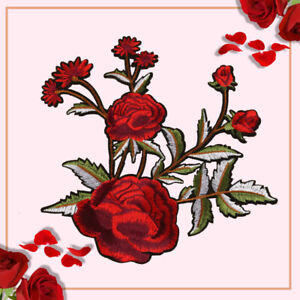 Big Red Rose Flower Embroidery Sew On Iron on Patch Badge Fabric Applique Craft