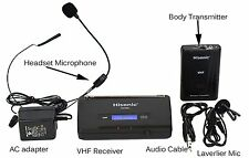 Hisonic HS380L VHF Wireless Headset Microphone System Portable Battery Powered