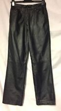 Straight Leg Leather Mid Rise 30L Trousers for Women