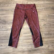 Nike Epic Lux Capri Legging Medium M Red Black Stripe  Tight Pant Crop Mesh