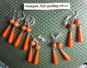 Bright orange long drops EARRINGS 1960s glass beads Japanese millefiori - silver