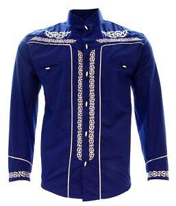 Charro Shirt Long Sleeve El Señor de los Cielos Camisa Charra Color Blue