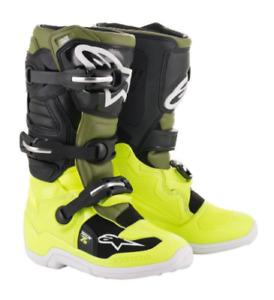 Alpinestars Tech 7s Youth Kids Motocross Boots - Flo Yellow/Military, UK4/US5