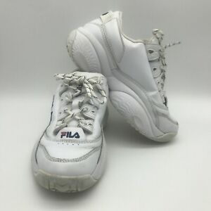 Fila White Synthetic Leather Girls Trainers UK 3 EU Size 36 Good Condition
