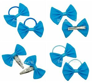 Turquoise fabric hair bows, girls hair accessories, Bobbles or clips