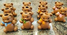 Lot of 11 Vintage 1970's Hand-Painted Ceramic Teddy Bear Macrame Animal Beads