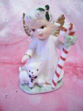 *Rare Vtg Japan Lefton Christmas Angel Pets Lamb & Holds Candy Cane Figurine