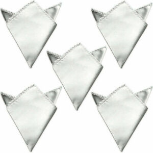 5 PCS Men Plain Color Pocket Square Hanky Wedding Accessories Satin Handkerchief