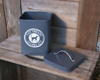 Slate Grey Cream Cat Kitten Pet Food Treat Kitchen Storage Container Metal Tin