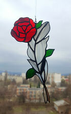 Stained Glass Suncatcher Rose and Feather Handmade