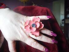 NWOT KENNETH JAY LANE PINK & Gold Large Enamel Flower Ring WITH BABY BLUE STONE