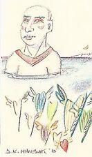 "Dimitris C. Milionis ""YOUNG MAN"" Original Signed Drawing on Paper Greek 2010"