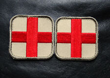 MEDIC CROSS EMT EMS RED CROSS 2.0 x 2.0 2 PC FIRST AID HOOK PATCH