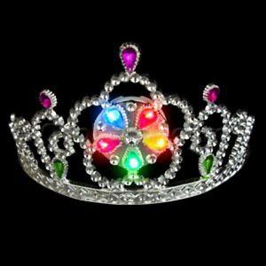 3 pks LED Light Up Tiara - Multi color led silver crown princess parties