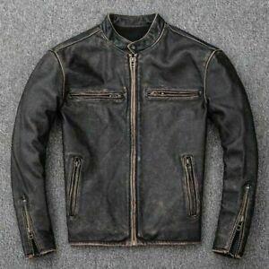 Mens Biker Motorcycle Vintage Distressed Black Faded Winter Real Leather Jacket
