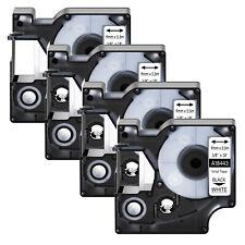 4x 18443 Black On White Vinyl Industrial Label 9mm For Dymo Rhino 4200 5200 Tape