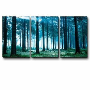 wall26 - Teal Tree Forest in a Foggy Morning- Canvas Wall Art - 16x24 inches