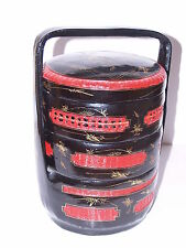 Yingchun Chinese Lunch Box - 3 Sections Plus top - Lacquer over Wood Rattan