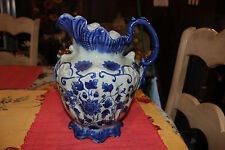 Large Ironstone Blue Pitcher-Scalloped Top-Flowers-Large Handle-Marked Bottom