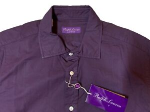 $450 Ralph Lauren Purple Label Purple Shirt Size Large 16.5  Made In Italy