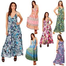 Pistacho para mujer Estampado floral o animal vestidos de algodón señoras de inmersión escote en V Maxi