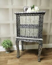 Silver Grey mirrored embossed bedside lamp table cabinet bedroom 2 drawer
