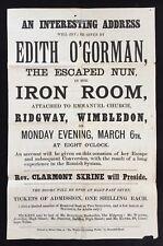 """Edith O'Gorman """"The Escaped Nun"""" c.1882 Wimbledon Lecture Tour Poster"""