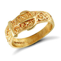 Jewelco London Kids Solid 9ct Yellow Gold Carved Buckle Baby Ring