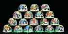 Top Qianlong Year Enamel Color Porcelain Eighteen Arhat Lohan Rohan Bowl Cup Set