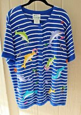 QUACKER FACTORY 1X Striped Embellished Sweater w/Dolphins