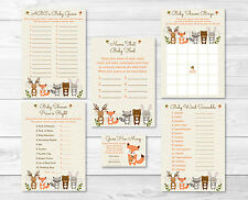 Woodland Forest Animals Neutral Baby Shower Games Pack - 6 Printable Games