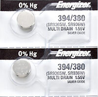 2 x Energizer 394 Watch Batteries, 0% MERCURY equivilent SR936SW or 380