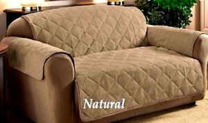 ITS TAN/NATURAL FAUX SUEDE PET KIDS SLIP COVER SOFA LOVESEAT CHAIR PROTECTOR