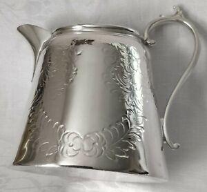 Victorian Silver Plated Cream Jug Floral Embossed EPBM Circe 1890 epbm