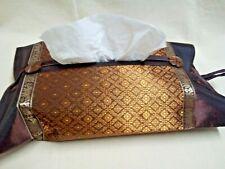 Handmade Artificial Silk Tissue Box Cover Bathroom Accessory Decorative Brown